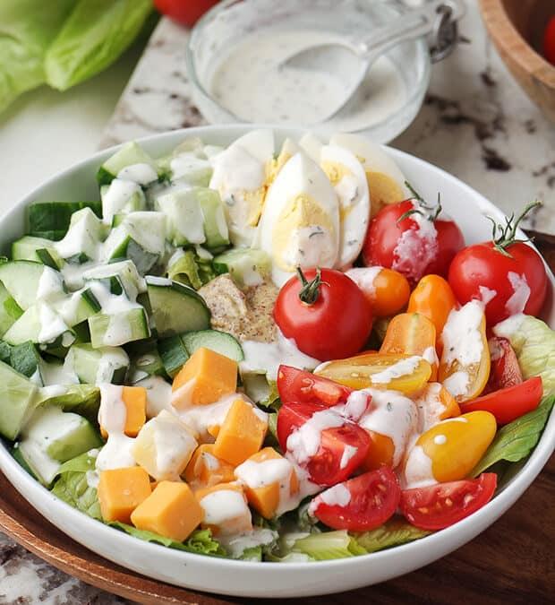 Кето Салат из овощей и сыра